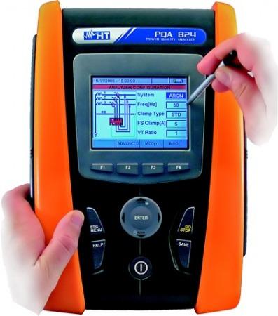 HTItalia PQA824 1- és 3-fázisú teljesítmény és hálózati analizátor