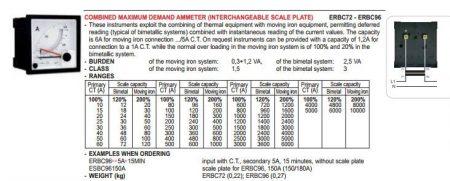 01 Revalco ERB72 5A 8min 0-5 A AC árammérő 72X72 Skála nélkül